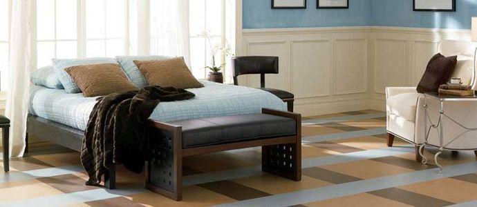 Мармолеум в интерьере спальни