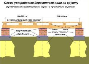 Схема устройства деревянного пола по грунту