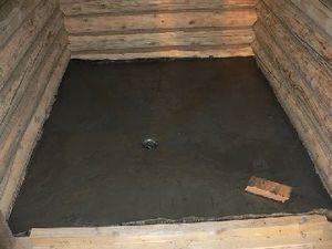 Вариант бетонного пола в бане