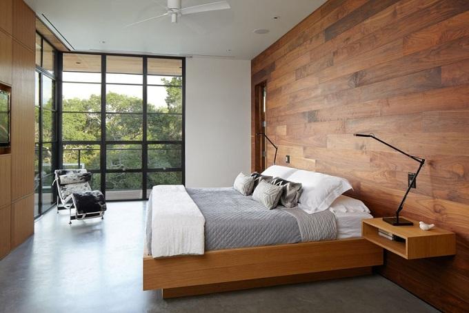 использование отделки в спальне
